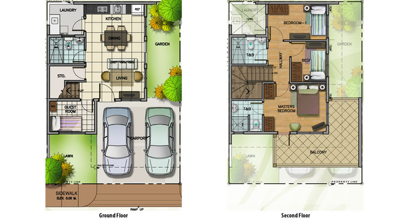 attached house floor plans - Attached House Plans